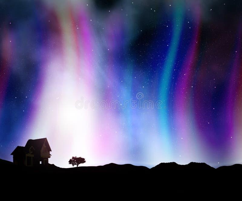 a paisagem da casa 3D contra um céu noturno com Aurora ilumina-se ilustração royalty free