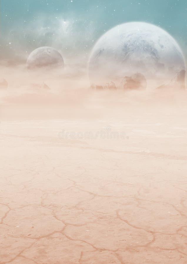 paisagem da Ciência-ficção com plano dois ilustração stock