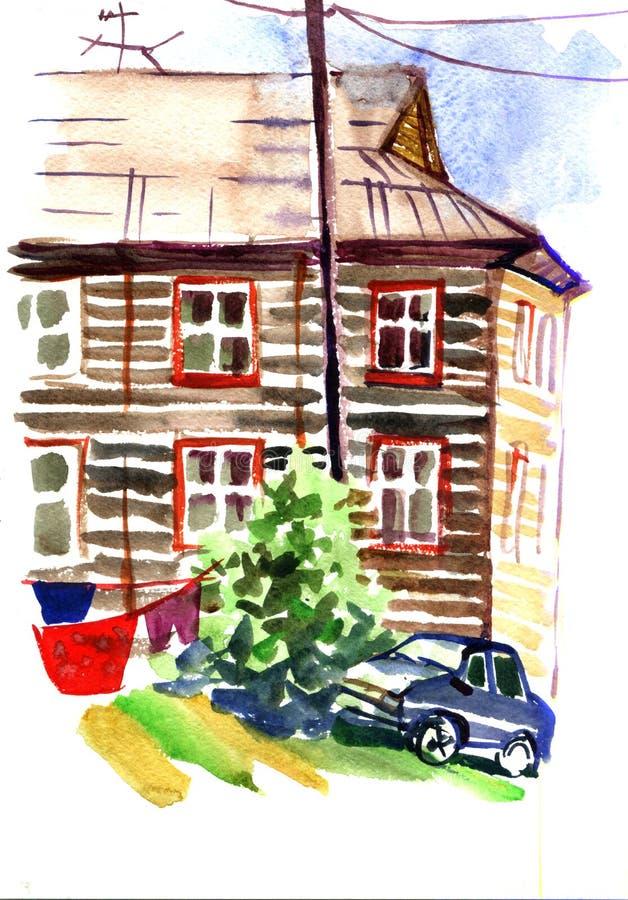 Paisagem da cidade Canto da cidade velha do russo Casa de madeira velha com varanda e cerca Carros na rua ilustração royalty free