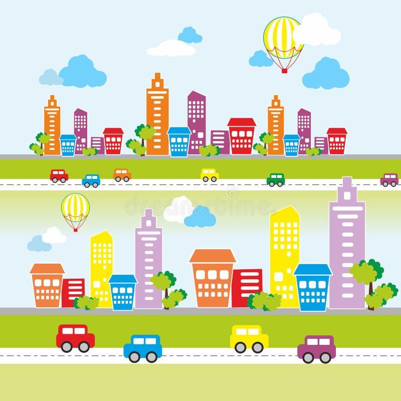 Paisagem da cidade com casas coloridas fotografia de stock