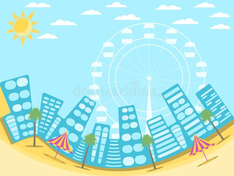 Paisagem da cidade com praia Uma estância turística na praia Palmas e atrações Vetor ilustração do vetor