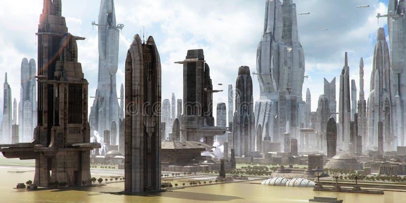 paisagem da cidade da Ciência-ficção (pintura matte) ilustração do vetor
