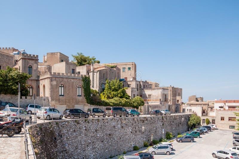 Paisagem da cidade de Erice situada perto de Trapani, Sicília fotografia de stock royalty free
