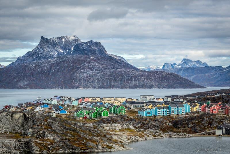 Paisagem da cidade de Nuuk fotos de stock royalty free