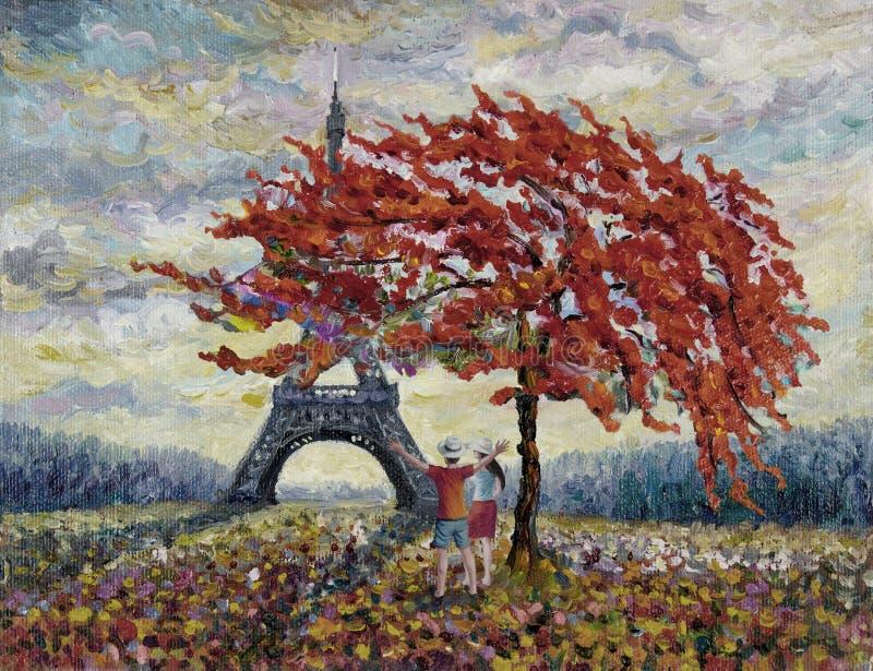 Paisagem da cidade de Paris em Europa, França ilustração stock