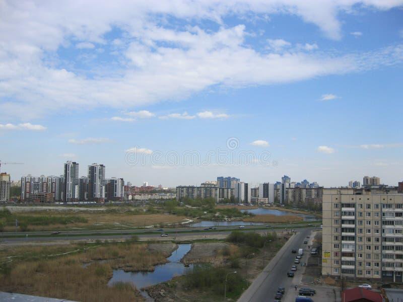 Paisagem da cidade Cidade de St Petersburg Lago longo fotos de stock