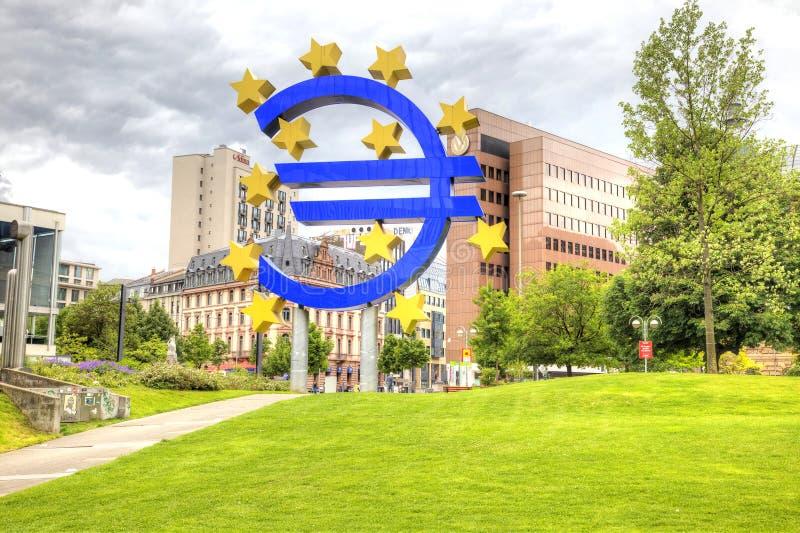 Paisagem da cidade Francoforte - am - cano principal Euro- fotografia de stock royalty free