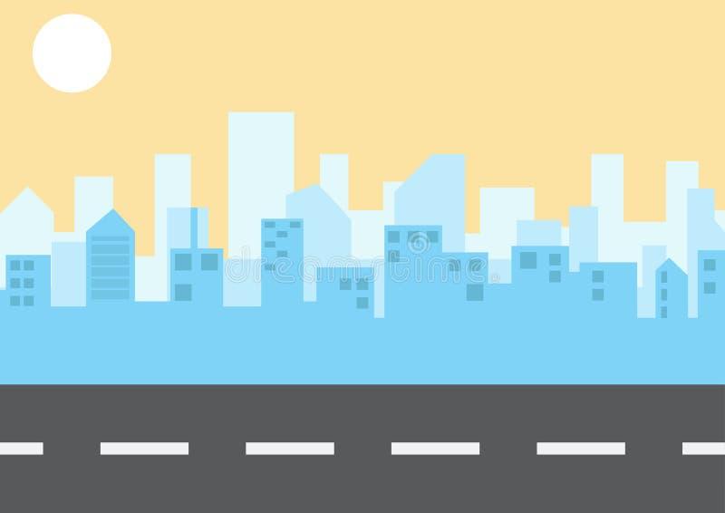 Paisagem da cidade no estilo liso Ilustra??o Vetor ilustração do vetor