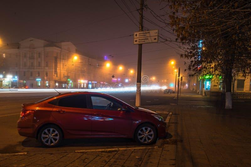 Paisagem da cidade da noite no tempo longo do obturador imagens de stock