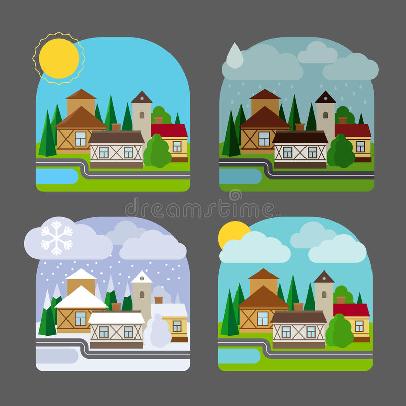 Paisagem da cidade pequena no estilo liso ilustração royalty free
