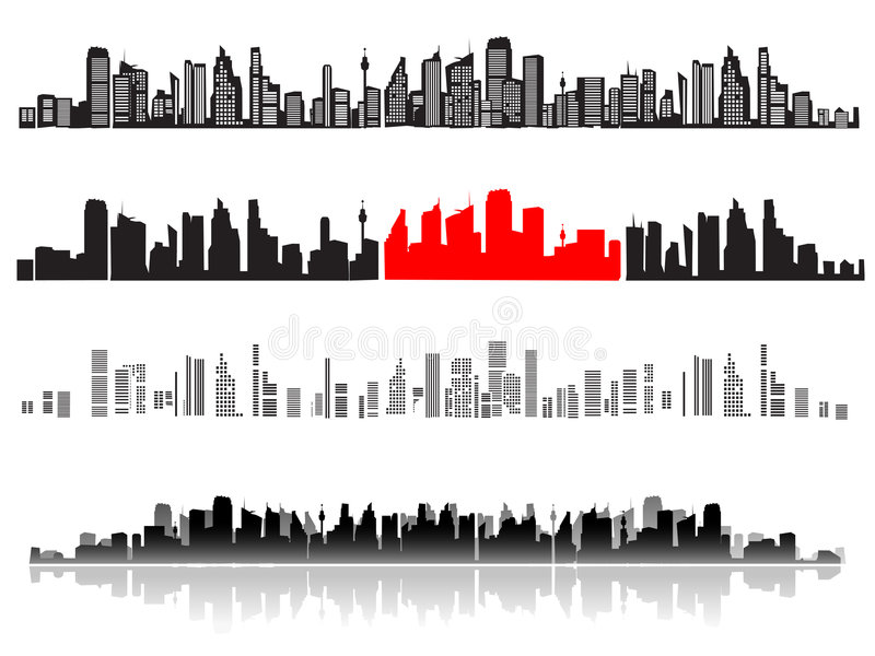 Paisagem da cidade, silhuetas de ilustração do vetor