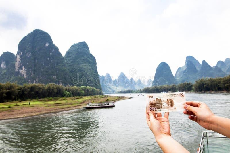 Paisagem da conta de 20 yuan - Li-Rio   foto de stock royalty free
