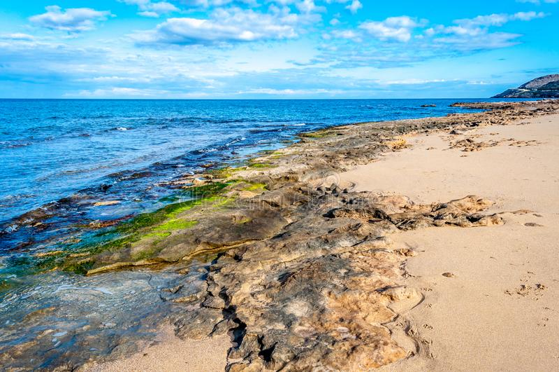 Paisagem da costa no inverno imagens de stock