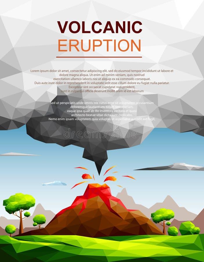 Paisagem da erupção vulcânica com fluxo da lava e nuvem da cinza em campos verdes entre o conceito árvore-natural do desastre ilustração do vetor