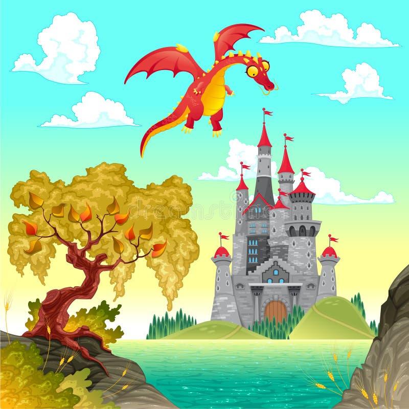 Paisagem da fantasia com castelo e dragão.
