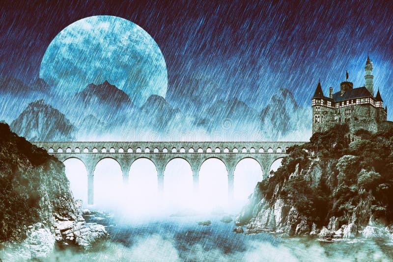 Paisagem da fantasia com ponte e o castelo enormes no penhasco sobre a lua e montanhas grandes da noite na névoa ilustração royalty free
