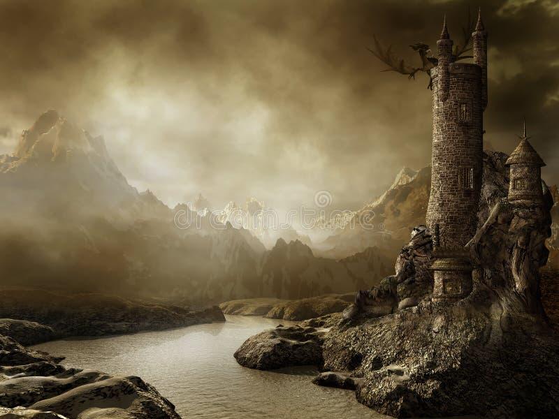 Paisagem da fantasia com uma torre ilustração royalty free