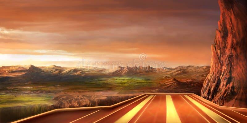 Paisagem da fantasia e pista de aterrissagem da ficção científica ilustração stock