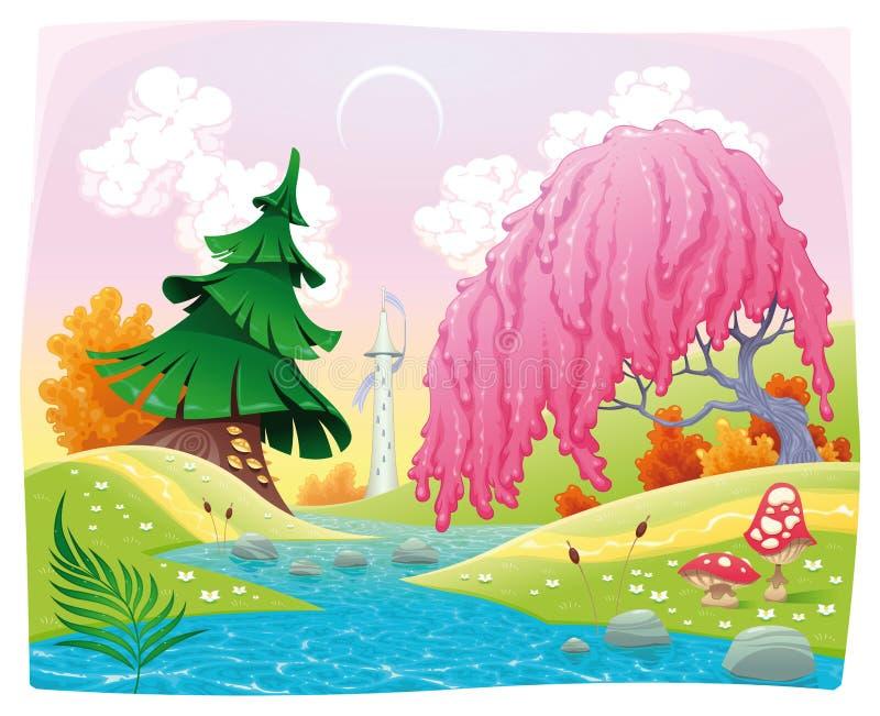 Paisagem da fantasia no beira-rio. ilustração royalty free