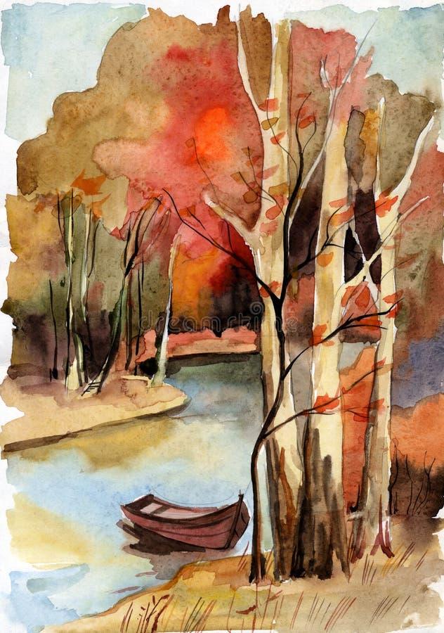 Paisagem da floresta com rio ilustração royalty free