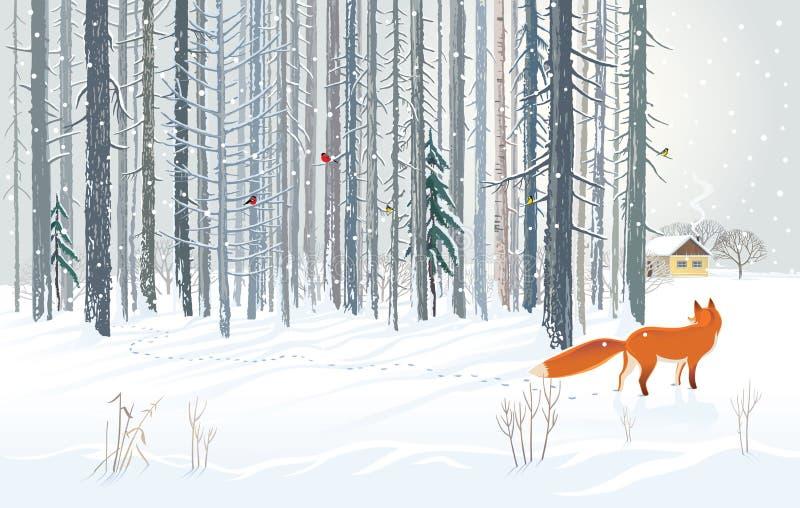 Paisagem da floresta do inverno com raposa com fome ilustração do vetor
