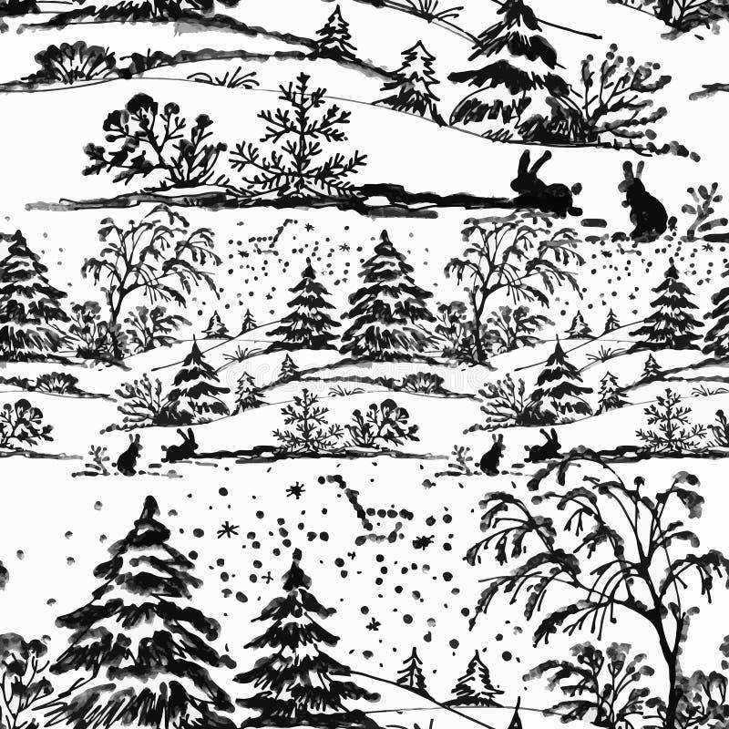 Paisagem da floresta do inverno da aquarela, ilustração do vetor, teste padrão sem emenda ilustração royalty free