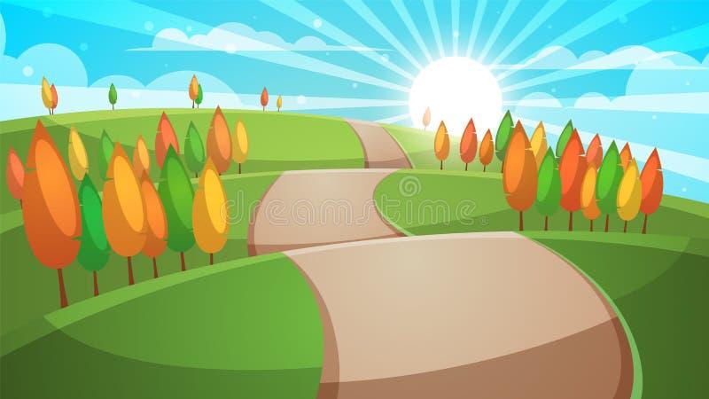 Paisagem da floresta dos desenhos animados Ilustração da estrada ilustração stock