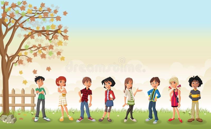 Paisagem da grama com os adolescentes bonitos dos desenhos animados ilustração royalty free