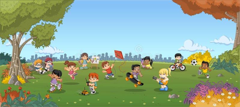 A paisagem da grama verde com desenhos animados bonitos caçoa o jogo ilustração stock