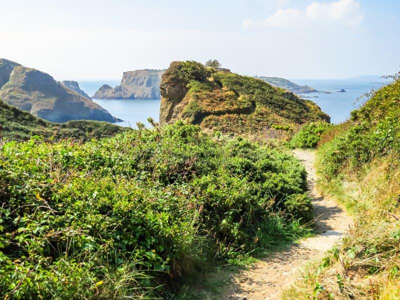 Paisagem da ilha de Sark, Guernsey, ilhas channel fotografia de stock
