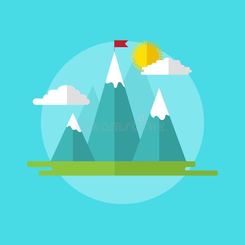 Paisagem da ilustração do conceito da liderança com a bandeira vermelha no pico de montanha ilustração stock