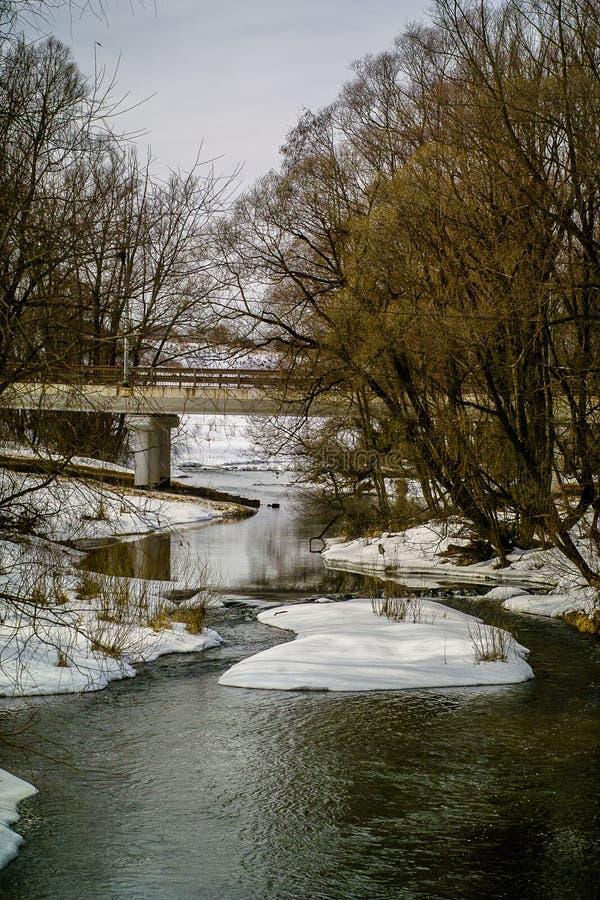 Paisagem da mola com um rio na região de Kaluga (Rússia) imagem de stock royalty free