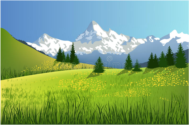Paisagem da mola da montanha ilustração stock