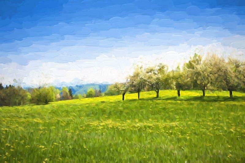 Paisagem da mola da pintura a óleo - árvores verdes do prado e de fruto ilustração royalty free