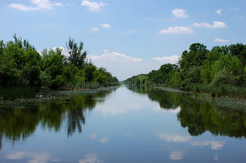 Paisagem da mola em um rio enevoado foto de stock