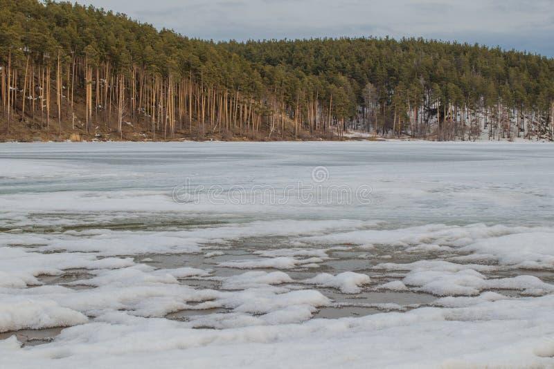 Paisagem da mola Gelo derretido no rio fotos de stock