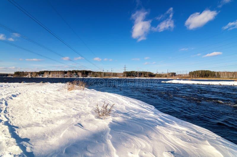 Paisagem da mola no rio de Ural, Rússia, fotografia de stock royalty free