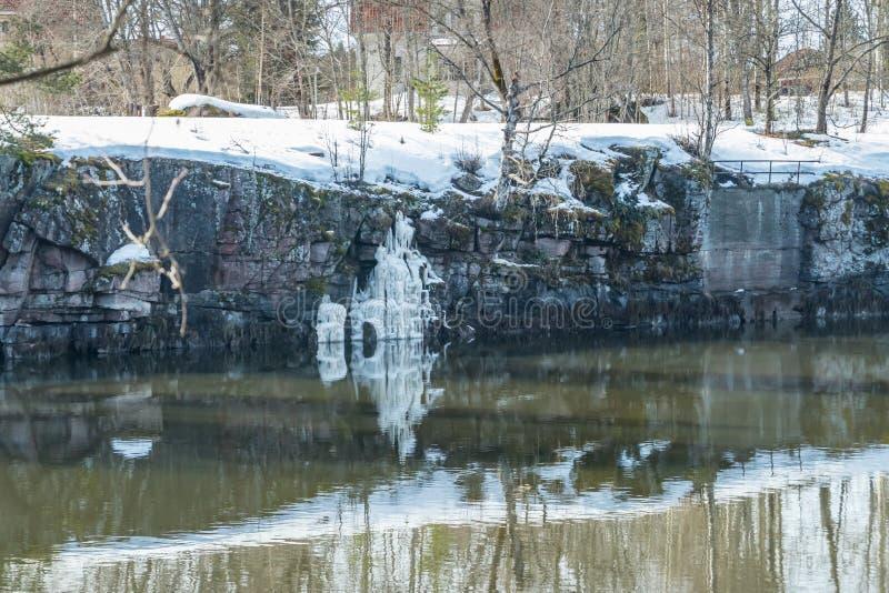 Paisagem da mola no rio Kymijoki e na cachoeira gelada, Kouvola, Finlandia fotos de stock royalty free