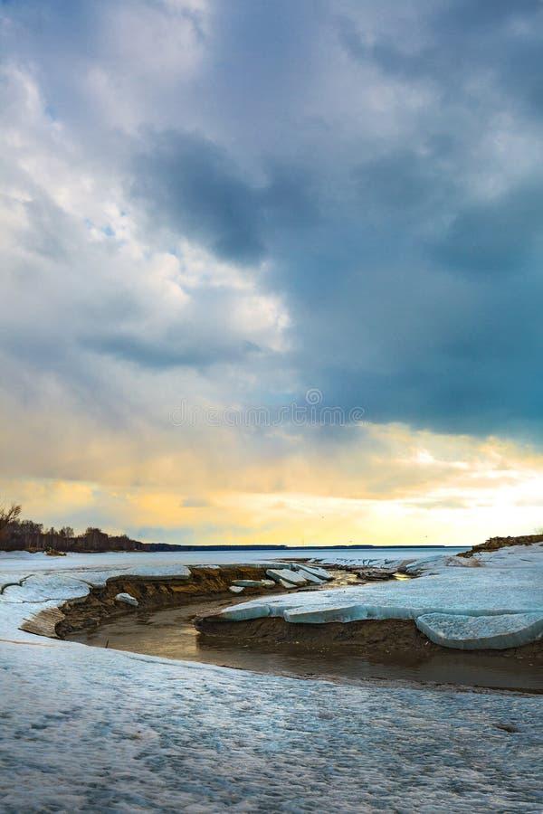 Paisagem da mola no rio Siberian Sibéria ocidental, Rússia foto de stock royalty free