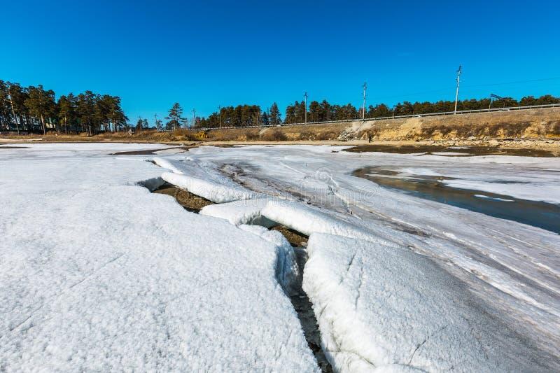 Paisagem da mola no rio Siberian Sibéria ocidental, Rússia imagens de stock