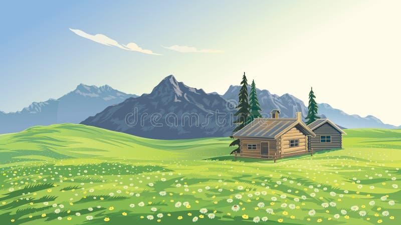 Paisagem da montanha com casas ilustração stock