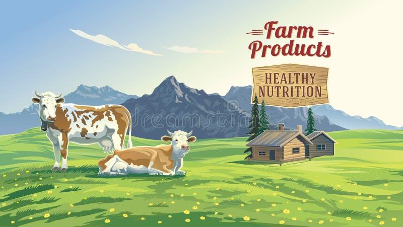 Paisagem da montanha com duas vacas ilustração royalty free