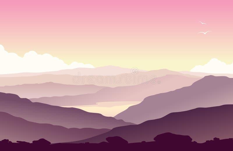 Paisagem da montanha com grama e o lago enorme ilustração stock