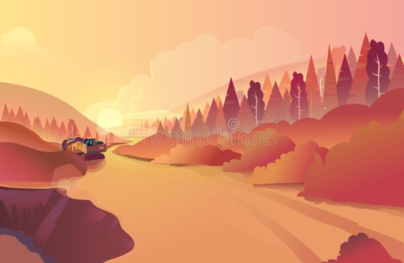 Paisagem da montanha com grama e o lago enorme Natureza selvagem no por do sol Ilustração do vetor ilustração royalty free