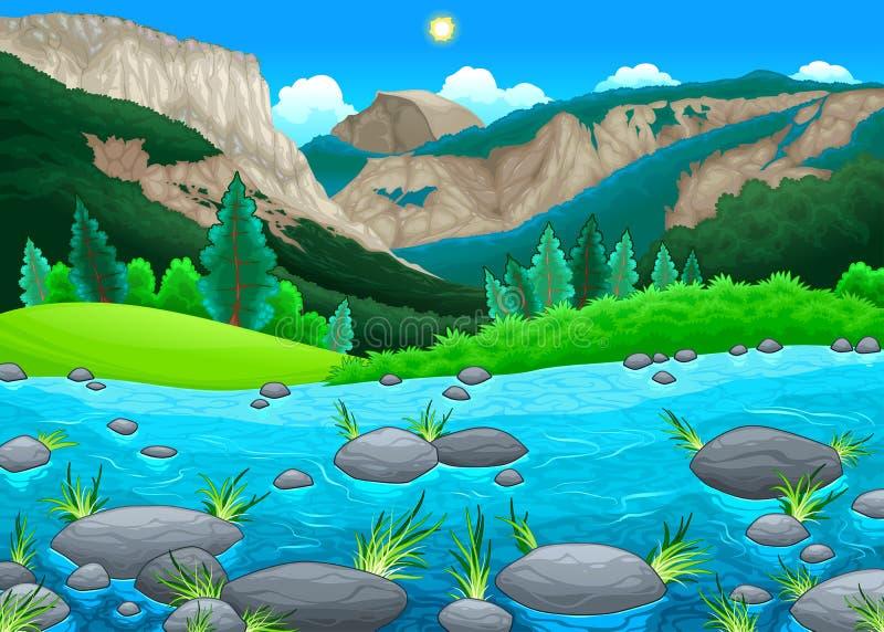 Paisagem da montanha com lago ilustração royalty free