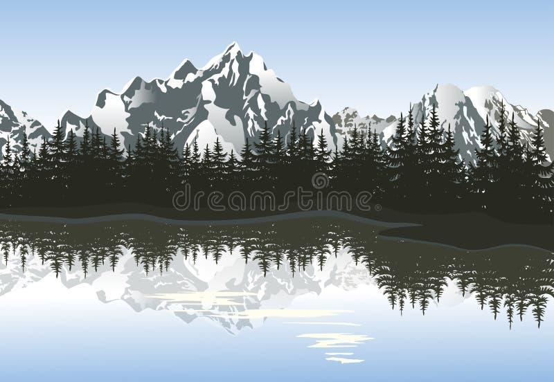 Paisagem da montanha com lago e pico nevado ilustração stock