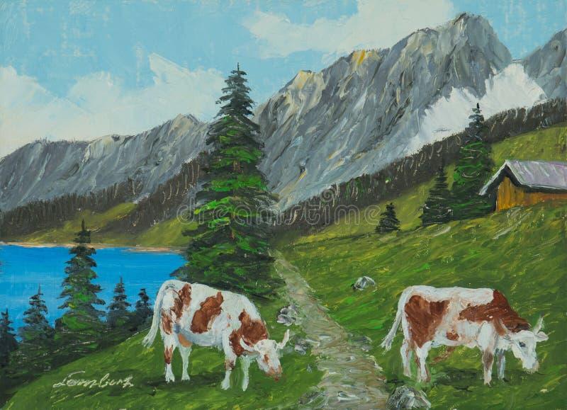 Paisagem da montanha com lago e vacas no primeiro plano ilustração stock