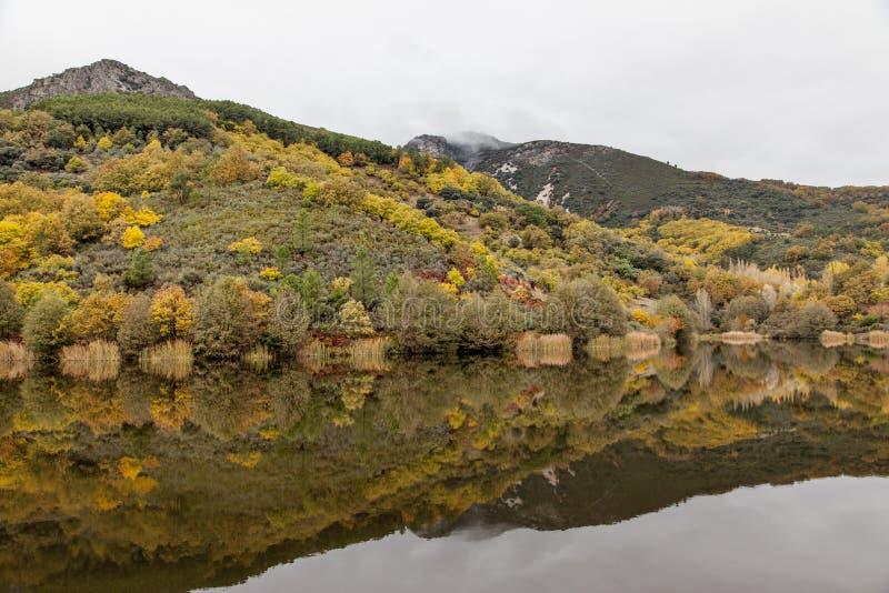Paisagem da montanha com reflexões no outono fotografia de stock
