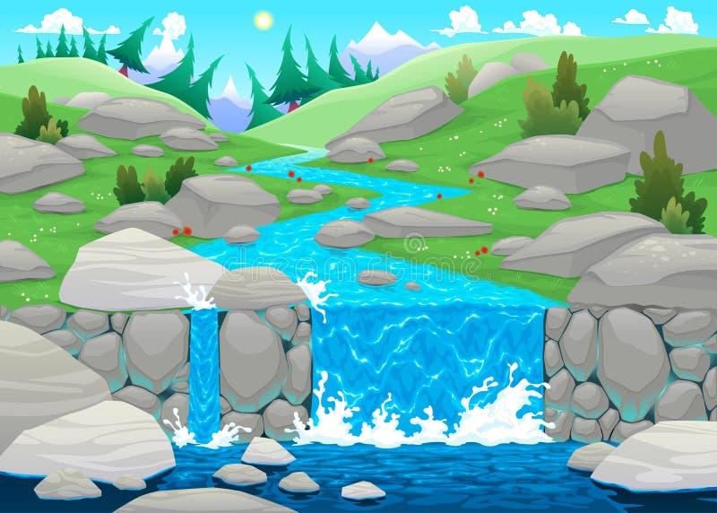 Paisagem da montanha com rio. ilustração royalty free