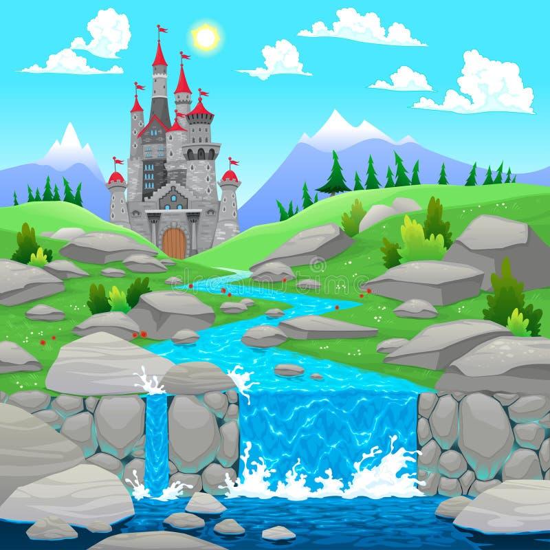 Paisagem da montanha com rio e castelo. ilustração do vetor